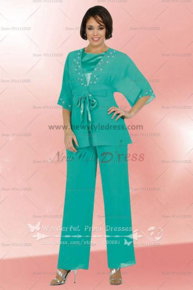 green Chiffon Half Sleeves mother of the bride pants set nmo-037