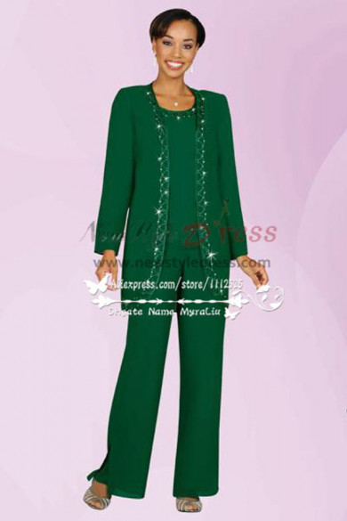 Green Three piece mother of the bride pants suit with jacket nmo-192