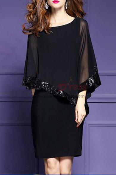 Half Sleeves Black left tilt short dresses with Sequins nmo-313