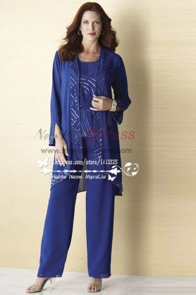 Hand beading chiffon outfit for mother of the bride pant suits nmo-161