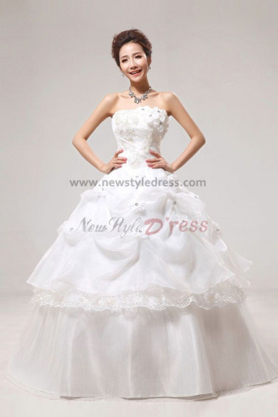 Handmade flower Tiered Ruffles Ball Gown White Gorgeous Floor-Length wedding Dresses nw-0052