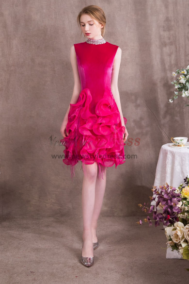 High Collar Rose Red Prom dresses Charming Ruffles Short dress NP-0371
