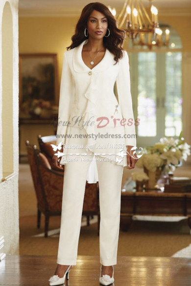 Ivory modern Ruffles mother of the bride pant suits/ Spring Women