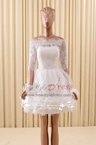 Ivory Lace Homecoming dersses Bateau Princess skirt