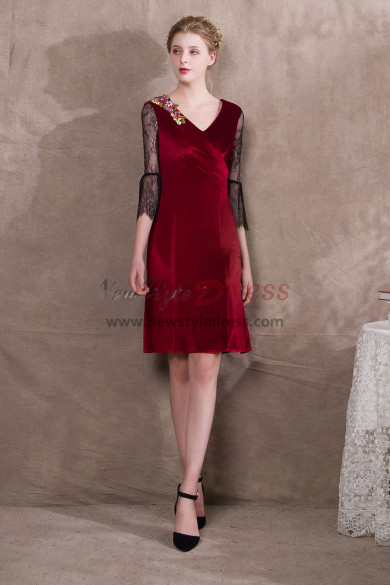 Knee-Length Burgundy Velvet Prom dresses Lace Sleeve NP-0392