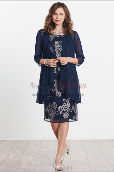 Knee-Length Embroidery Mother of the bride dresses with chiffon coat nmo-467