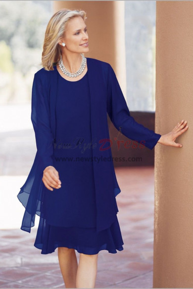 Knee-Length Royal blue Mother of the bride Chiffon dresses nmo-476