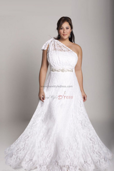 lace One Shoulder a line Plus Size Glamorous wedding gowns nw-0272