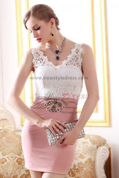 Home / lace Vest Sexy Sheath Pink Elegant short prom dress nm-0237