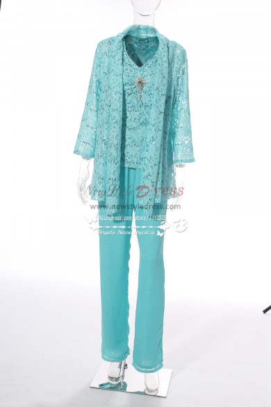 Lace Mother of the bride pant suits with jacket for wedding party MT001706