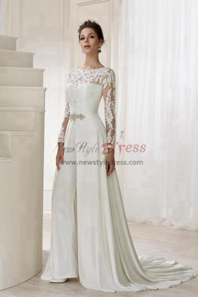 length Sleeves Bridal Jumpsuit Elegant Wedding pants dress with detachable train wps-115