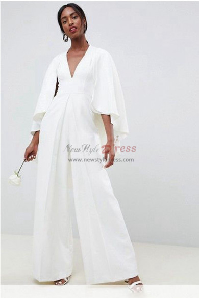 length Sleeves Bridal Jumpsuits  dresses With Cape wps-133