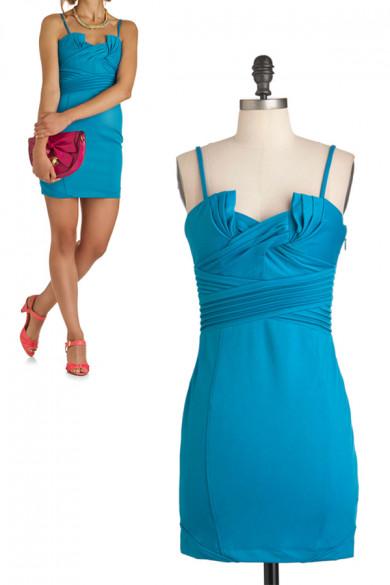 Custom Royal Blue Spaghetti Chest With Pleats Bridesmaids Dresses nm-0144