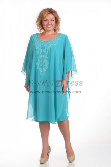 Light Blue Plus Size Knee-Length Mother of the bride dresses nmo-334