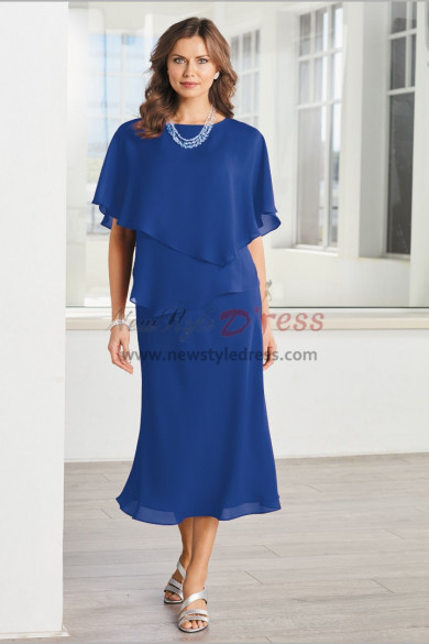 Light Royal Blue Mother of the bride Chiffon dresses Mid-Calf nmo-480