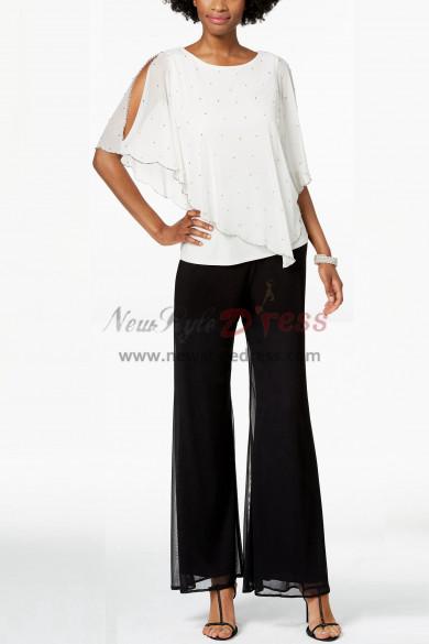 Loop Women Pearl Trim Overlay Top Pants suit for Weding party nmo-390