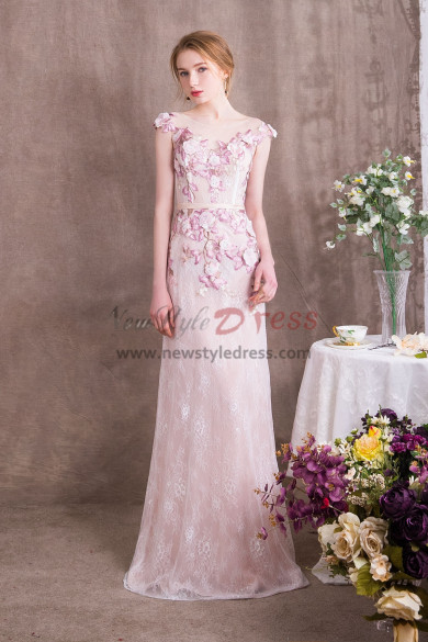 Lovely Pink Lace Prom dresses Spring New Arrival np-0376