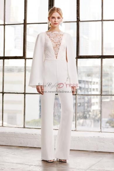 Modern Bridal Jumpsuits Wedding Cape dresses wps-149