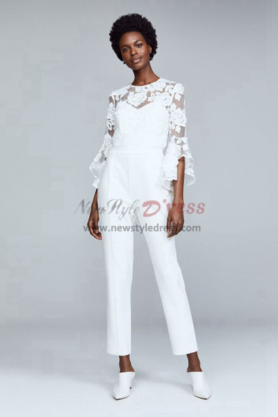 Modern Bridal Jumpsuits with Trumpet Sleeves wps-105