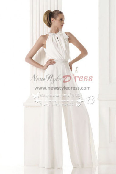 Modern bridal Wedding dresses pantsuits white chiffon jumpsuit wps-077