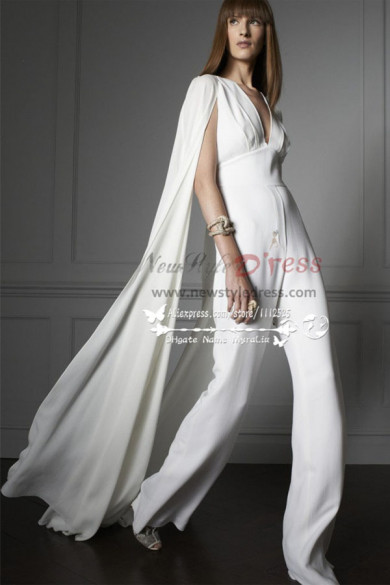 Modern bridal  white chiffon jumpsuit Wedding dress with cape wps-056