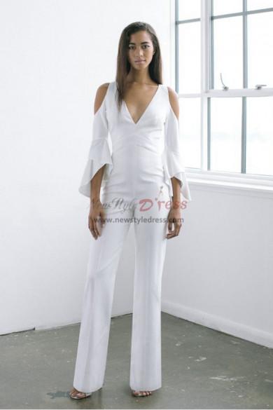 Modern Deep V-Neck Wedding Jumpsuits dresses wps-151