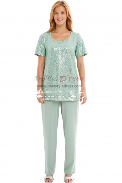 Modern Light Green Sequins mother of the bride pant suits nmo-168