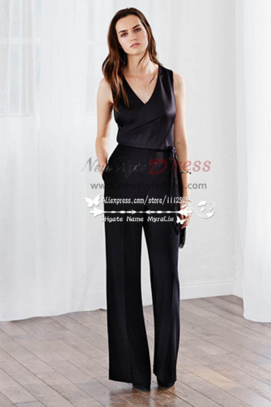 Modern Simple sexy black Prom Jumpsuit dress nmo-225