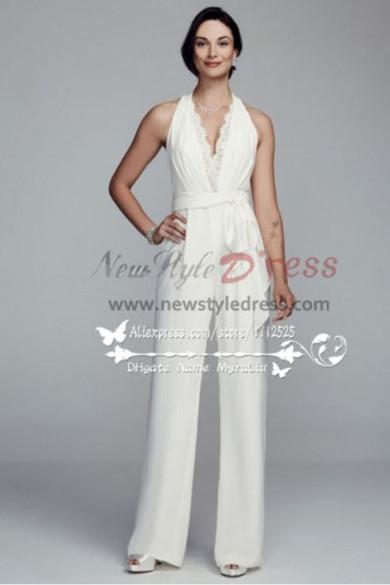 Modern Wedding pant suits white lace halter jumpsuit wps-050