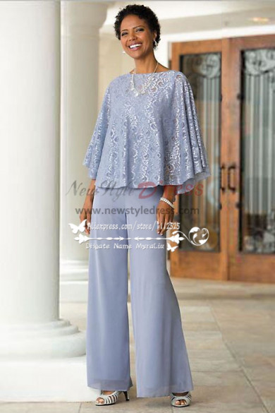 Mother Of The Bride Pant Suits Blue Chiffon Outfit With