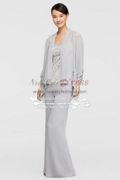Mother of the bride pant suits three piece silver grey for Dress pant outfits for wedding