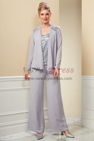 Mother of the bride pantsuit Silver Sequins Tunic Gray Chiffon Trouser set nmo-436
