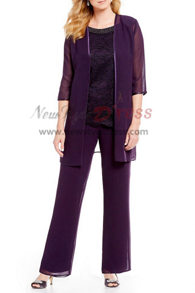 Mother of the bride Trousers set Chiffon Beaded Neck pants outfit Elastic waist nmo-402
