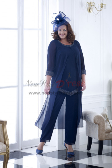 NEW ARRIVAL Dark Navy loose Hand Beading Mother of the bride pants suit Elegant women