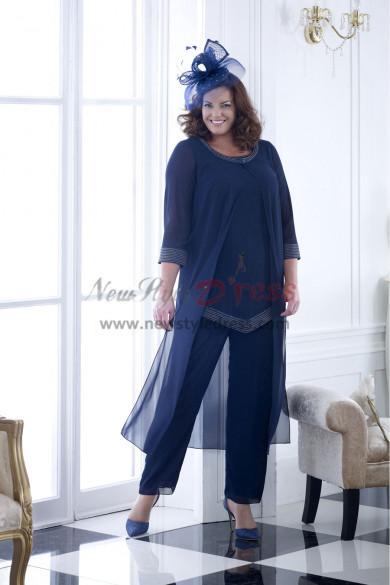 NEW ARRIVAL Dark Navy loose Hand Beading Mother of the bride pants suit Elegant women