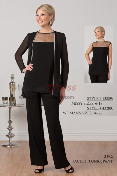 New arrival Elegant Chiffon mother of the bridal pant suits outfits nmo-422