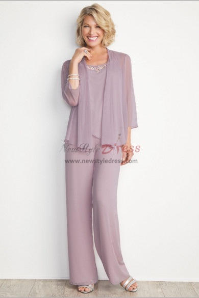 New arrival Mother of the bride pant suit Chiffon 3PC Trousers outfit nmo-550