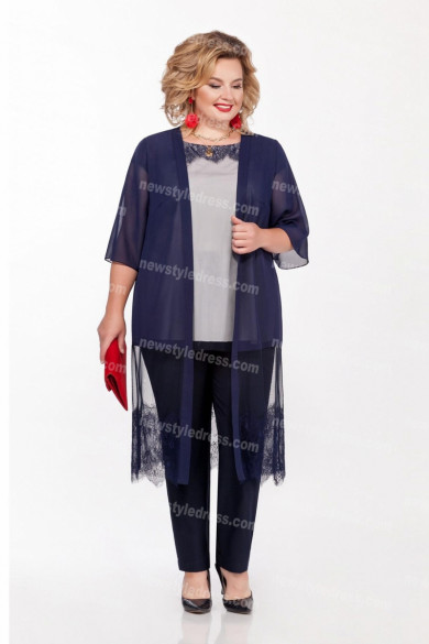New Style 3PC Mother of the Bride Pant Suits Dark Navy nmo-720
