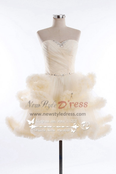 New style Lovely Homecoming dresses Clouds short prom dress champagne