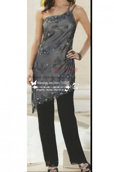 One shoulder delicate chiffon with hand beading pant suit fro wedding nmo-174