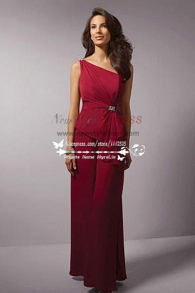 One shoulder Ruby Color chiffon Burgundy dress for beach wedding wide leg pants