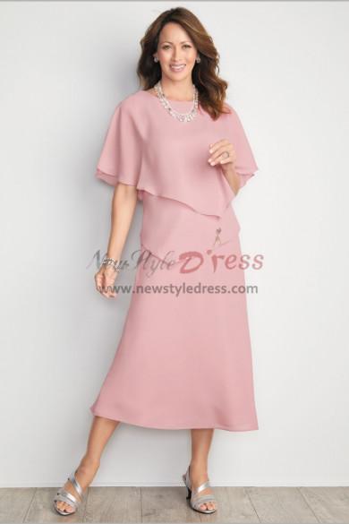Pink Chiffon Mid-Calf Mother of the bride dresses Comfortable Beach wedding wear nmo-481