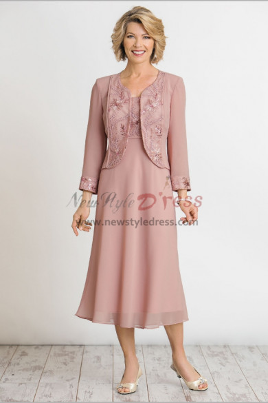 Pink Embroidery Chiffon Outfit Mid-Calf Mother of the bride dresses with Jacket nmo-470