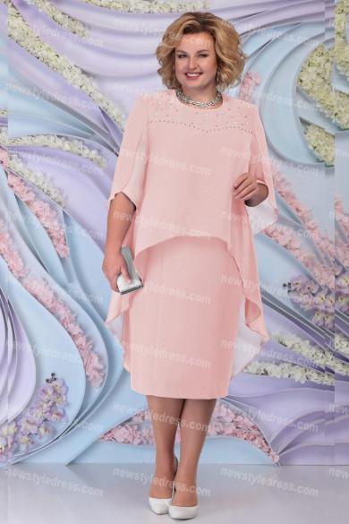Pink Mother Of The Bride Dress Plus Size Chiffon Women