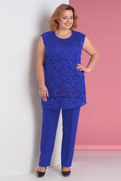Plus Size 3PC Mother of the Bride Pant Suits Royal Blue nmo-716-3