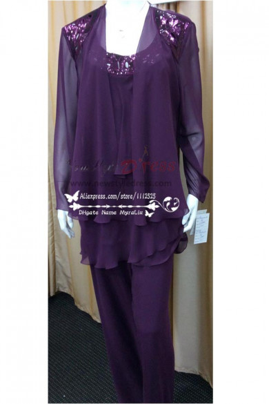 Custom made Plus Size Real Photo Beaded purple chiffon Mother of the Bride Pant Suits nmo-196