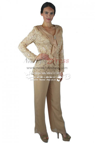 Pretty Champagne Mother of the bride pant suits with lace jacket Informal dress nmo-234