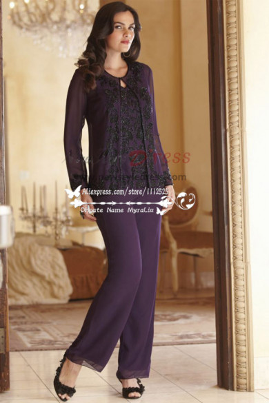 Purple customize mother of the bride pant suits with balck appliques nmo-200