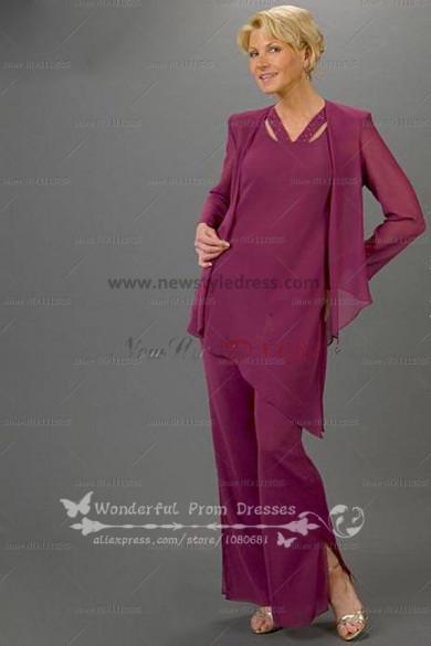 purple modern spring mother of the bride dress pants sets nmo-087