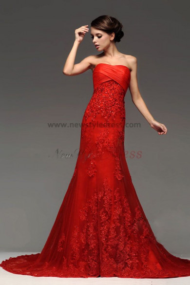 red Chapel Train Lace beading a-line under $200 Wedding Dresses nw-0222